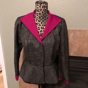 Lafayette 148 Gray hot pink blazer